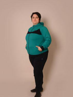 Макси мода Дамски анцуг Респеро стеснен с ластик - зелено и черно