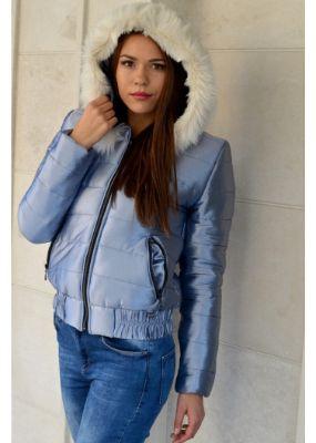 модерно дамско яке в сребрист