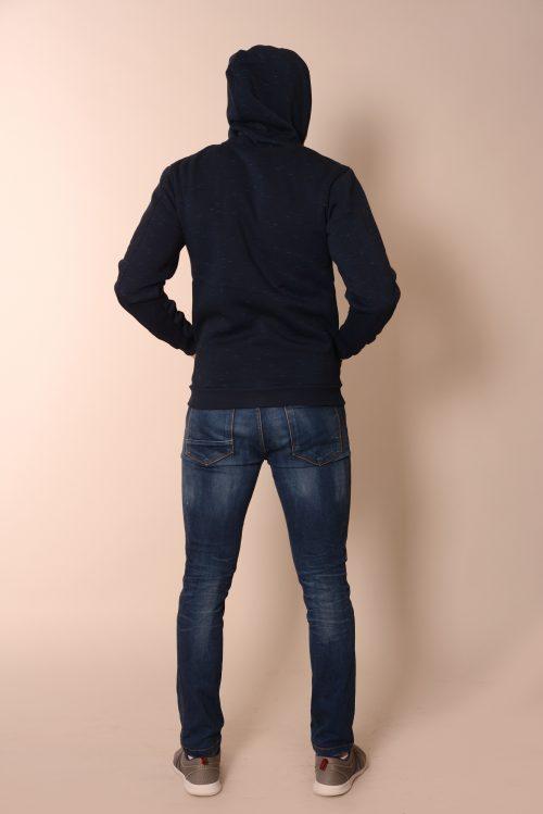 Мъжки суитчър с качулка тъмно син
