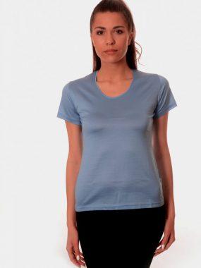 Дамска тениска от мерсализиран памук - сива