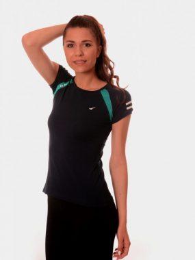 Дамска тениска Редикс в черно и зелено