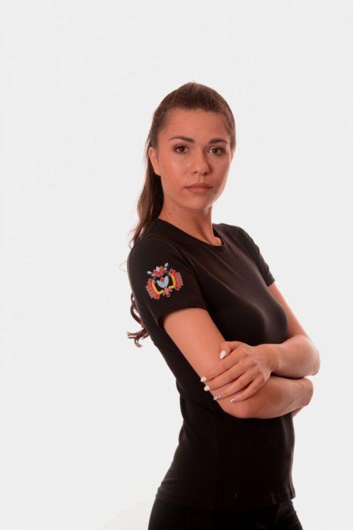 Дамска тениска с бродирана шевица везба дървото на живота