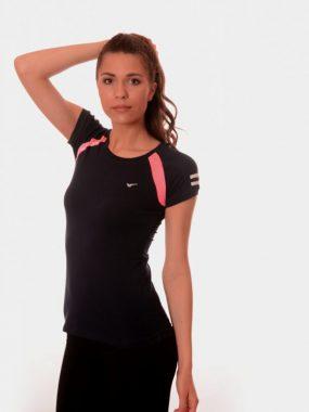 Дамска спортна тениска Rediks в черно и розово