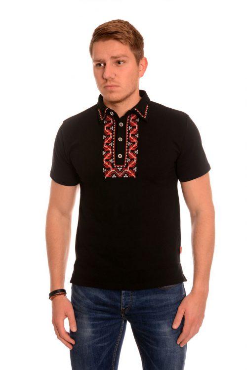 Черна мъжка тениска с везба.