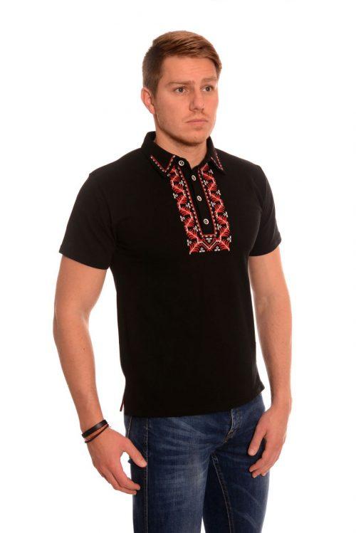 Черна мъжка тениска с везба канатица