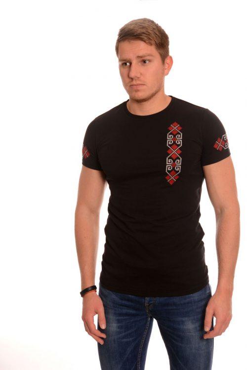 Черна мъжка тениска с българска везба