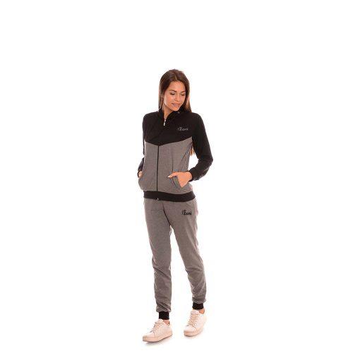 Дамски анцуг в черно и сиво Zani - памук и ликра