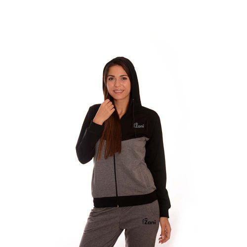 Дамски анцуг в черно и сиво Zani - памук и ликра. Модел пролет - лято