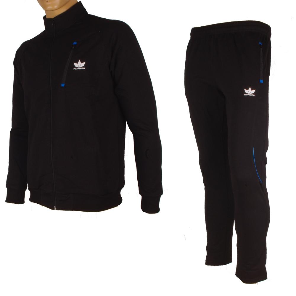 Мъжки анцуг с преден джоб в черно и синьо