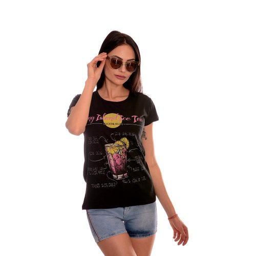 Дамска тениска с принт от памук и ликра