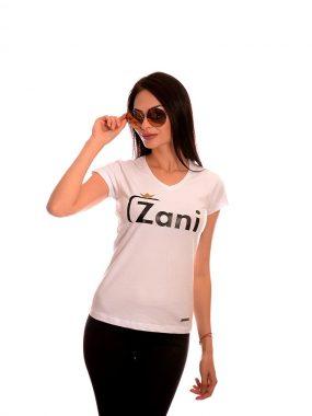 Българска дамска тениска в бяло от Zani