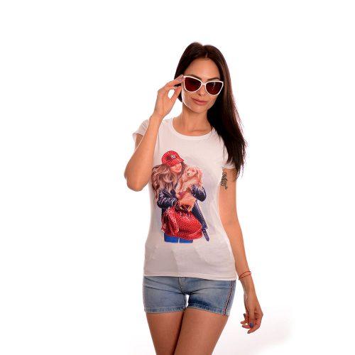 Дамска тениска с къс ръкав NY с камъни