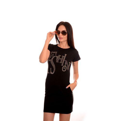 Дамска туника с камъни - цвят черен