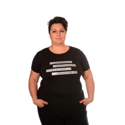 Тениска с къс ръкав за макси дами от памук