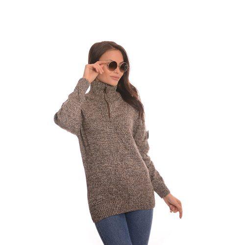 Дълга дамска блуза в кафяво - плетиво
