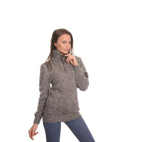 Дълга дамска блуза в сиво - плетиво