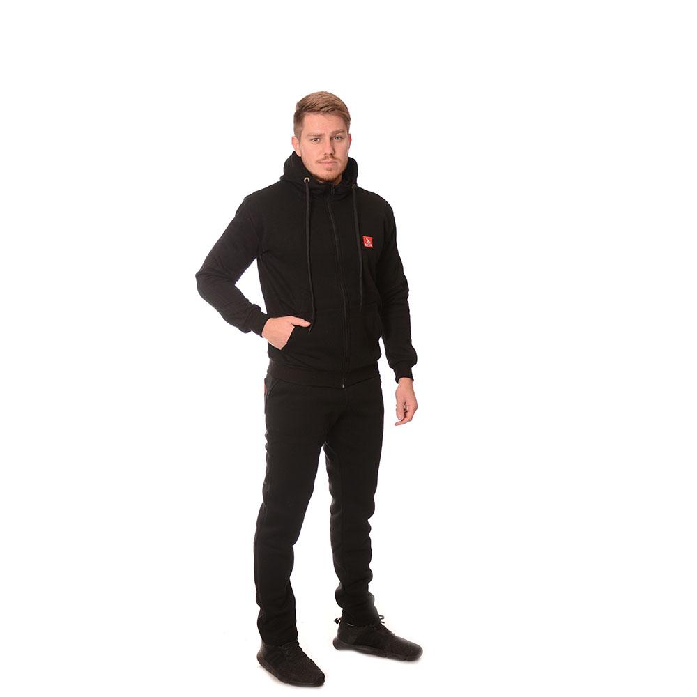 Български ватиран спортни анцунг черен с качулка