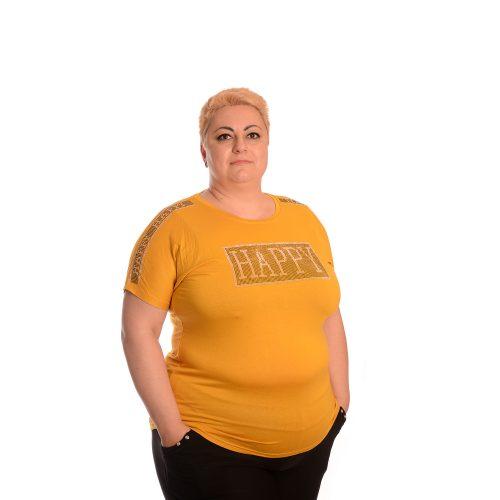 Макси тениска за едри дами в цвят горчица