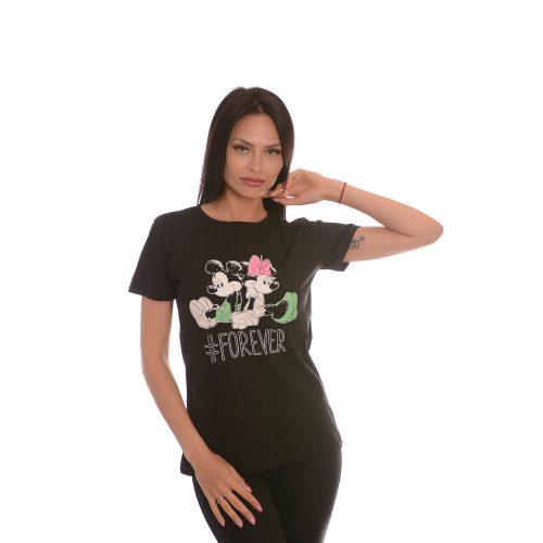 Дамска черна тениска МИКИ МАУС- памук и ликра