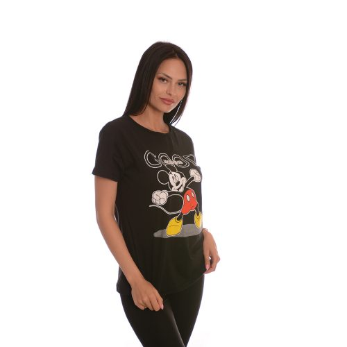 Дамска черна тениска с Мики Маус