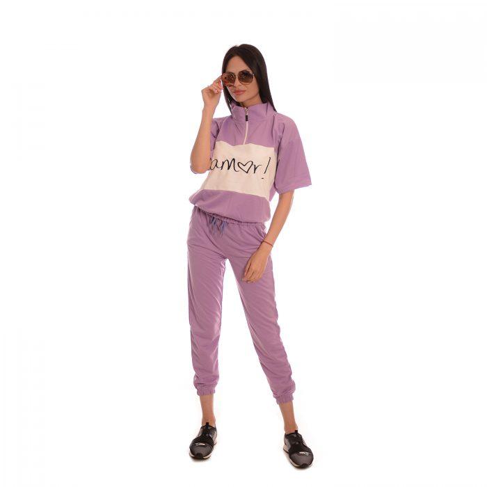 Дамски анцуг с къс ръкав в лилаво. Супер модерен