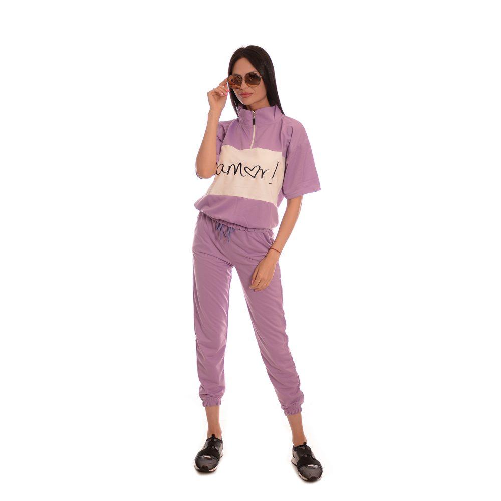 Дамски анцуг с къс ръкав в розово. Супер модерен