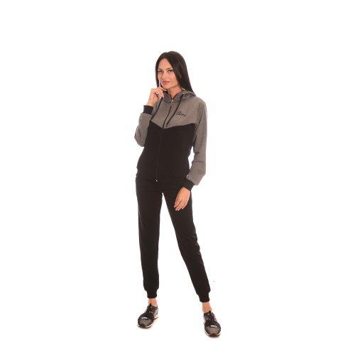 Дамски анцуг в сиво и черно Zani - памук и ликра. Модел пролет - лято